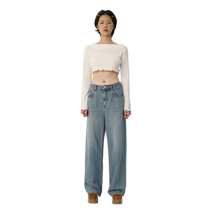C VINTAGE LOOSE-FIT DENIM PANTS_SKY BLUE