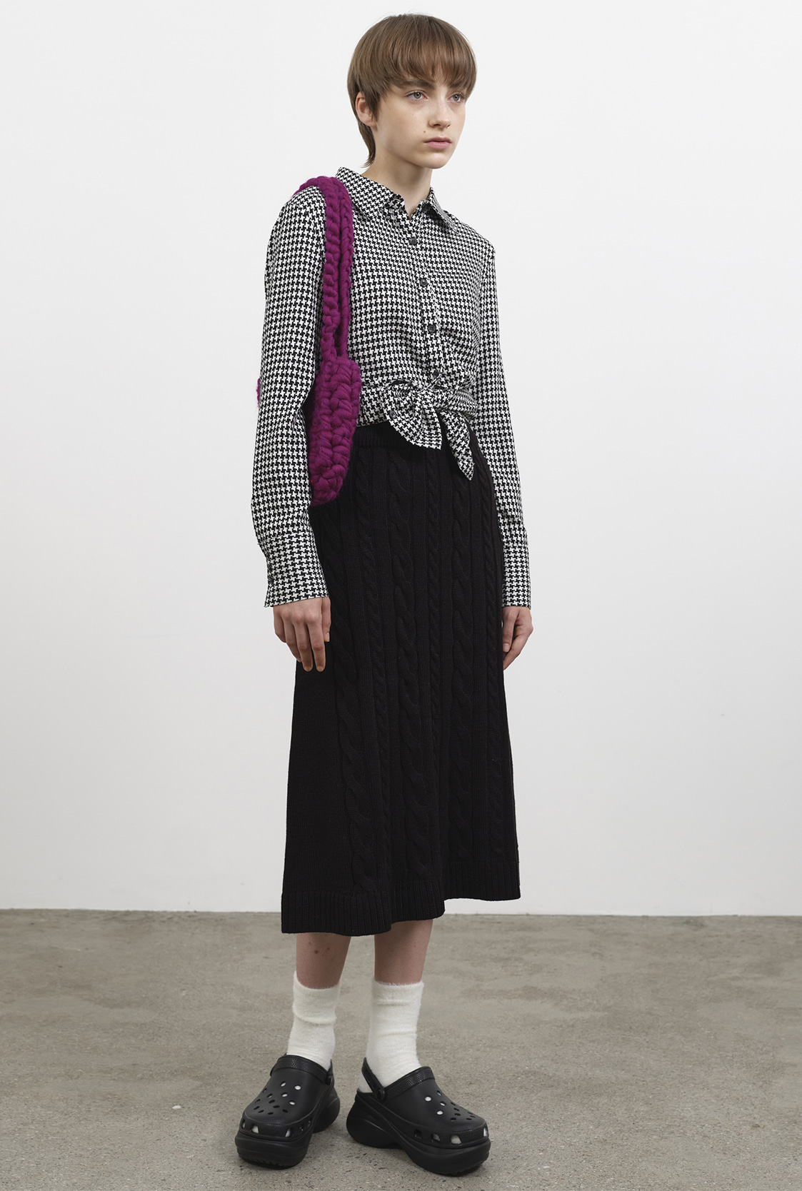 R CABLE MIX KNIT SKIRT [2colors]