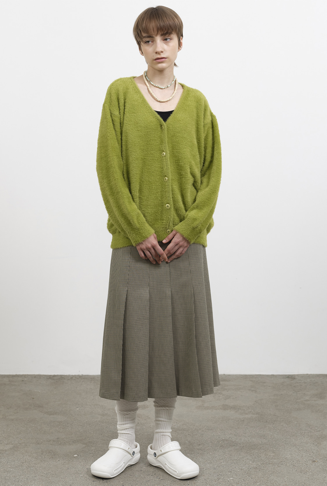 R TWO WAY BUTTON KNIT CARDIGAN_OLIVE