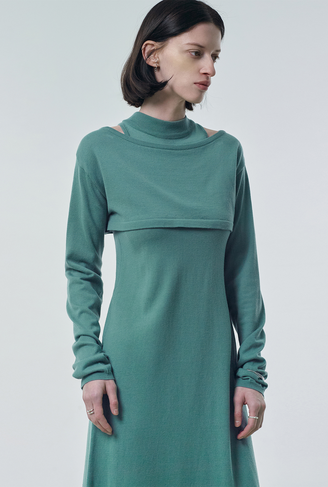R BOLERO LAYERED KNIT DRESS_OLIVE
