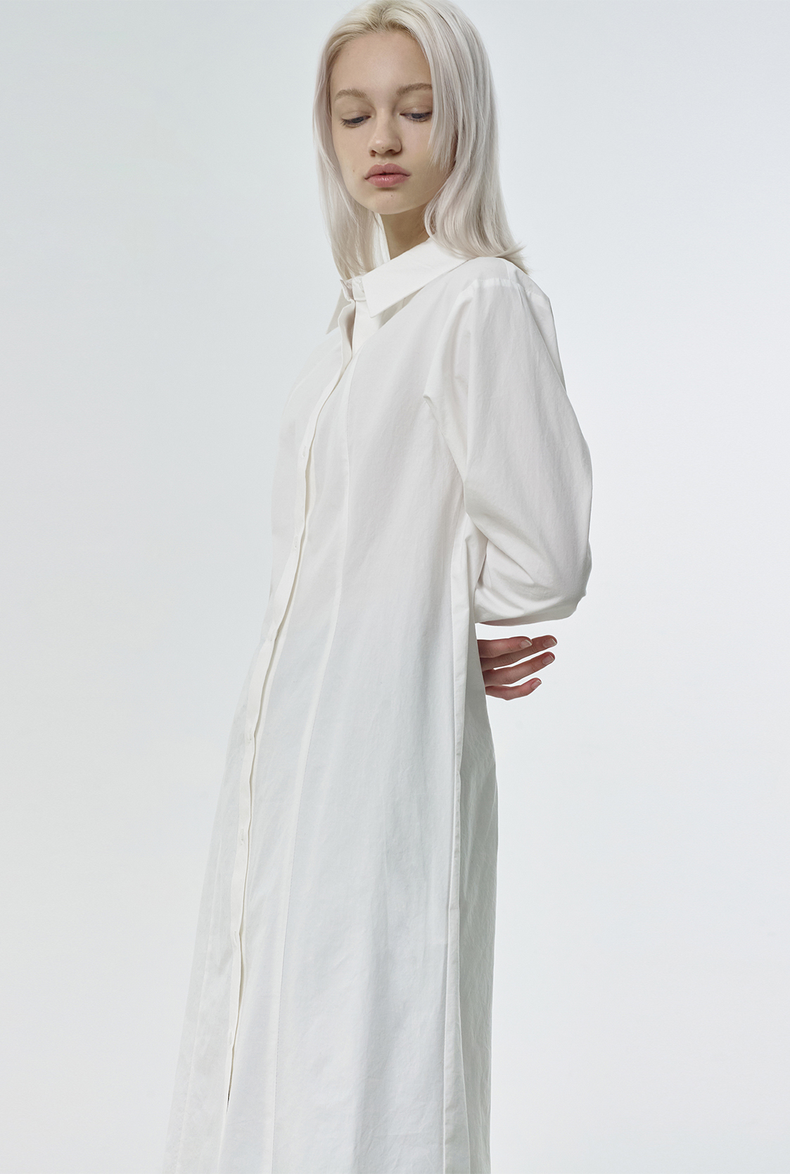 R COTTON LONG SHIRT DRESS_WHITE