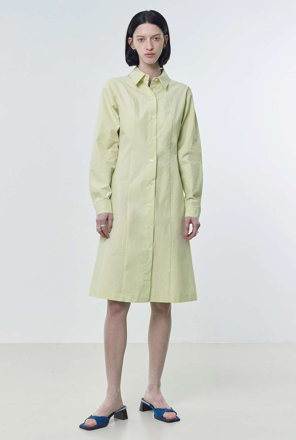 R COTTON LONG SHIRT DRESS_YELLOWISH GREEN