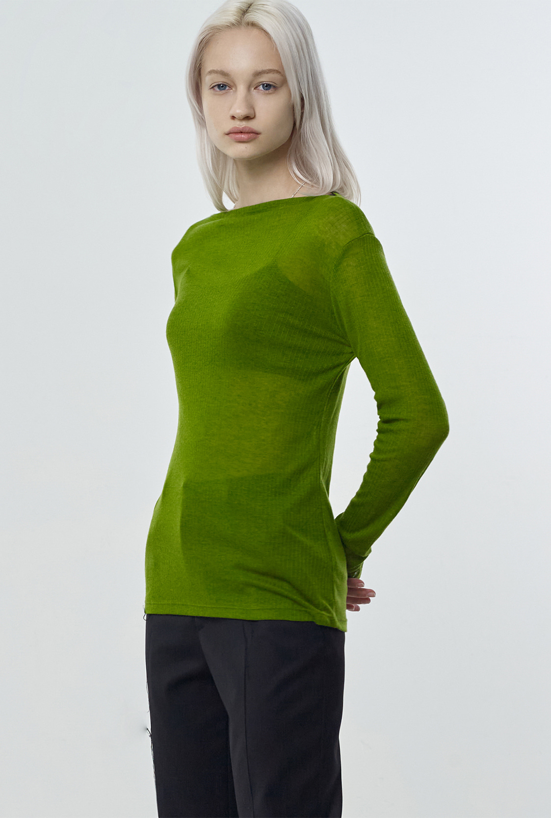 R CURVE BOAT-NECK T-SHIRT_YELLOWISH GREEN
