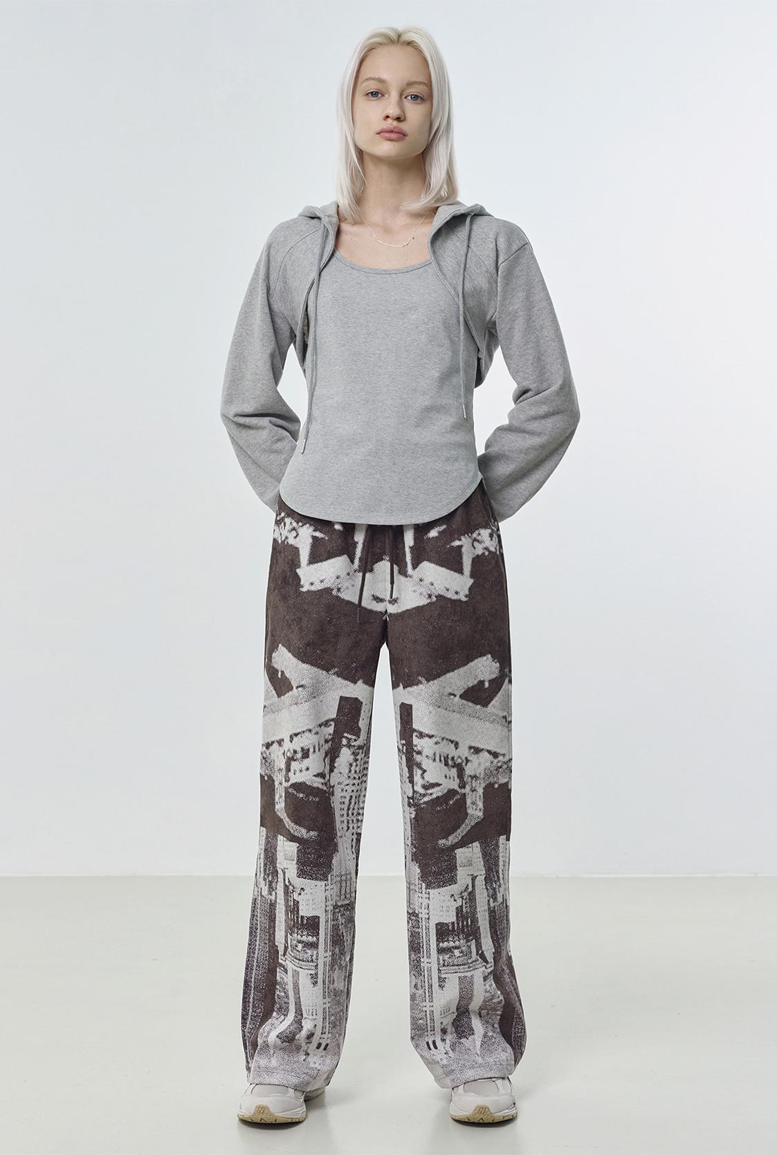 R GRAPHIC BANDING PANTS_BROWN