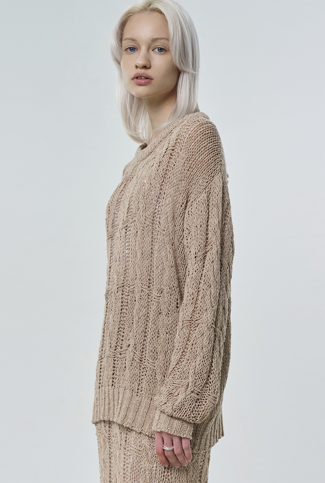 R SEE-THROUGHT CABLE KNIT TOP [2colors]